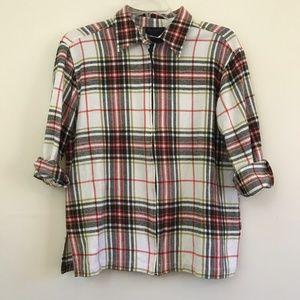 Zip Up plaid Flannel Shirt Jacket